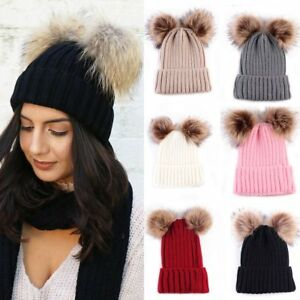 Faux Fur Hat Double Pom Beanie Hat In Wool Knit Bobble Ski Cap ... 4de093c1efbc