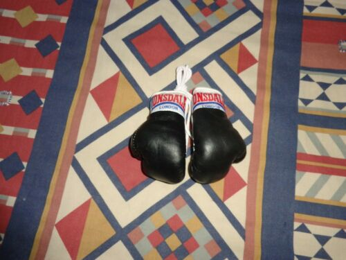 LONSDALE  REAR VIEW MIRROR//HANGING  2 X PAIRS OF MINI BOXING GLOVES  BLACK//WHITE