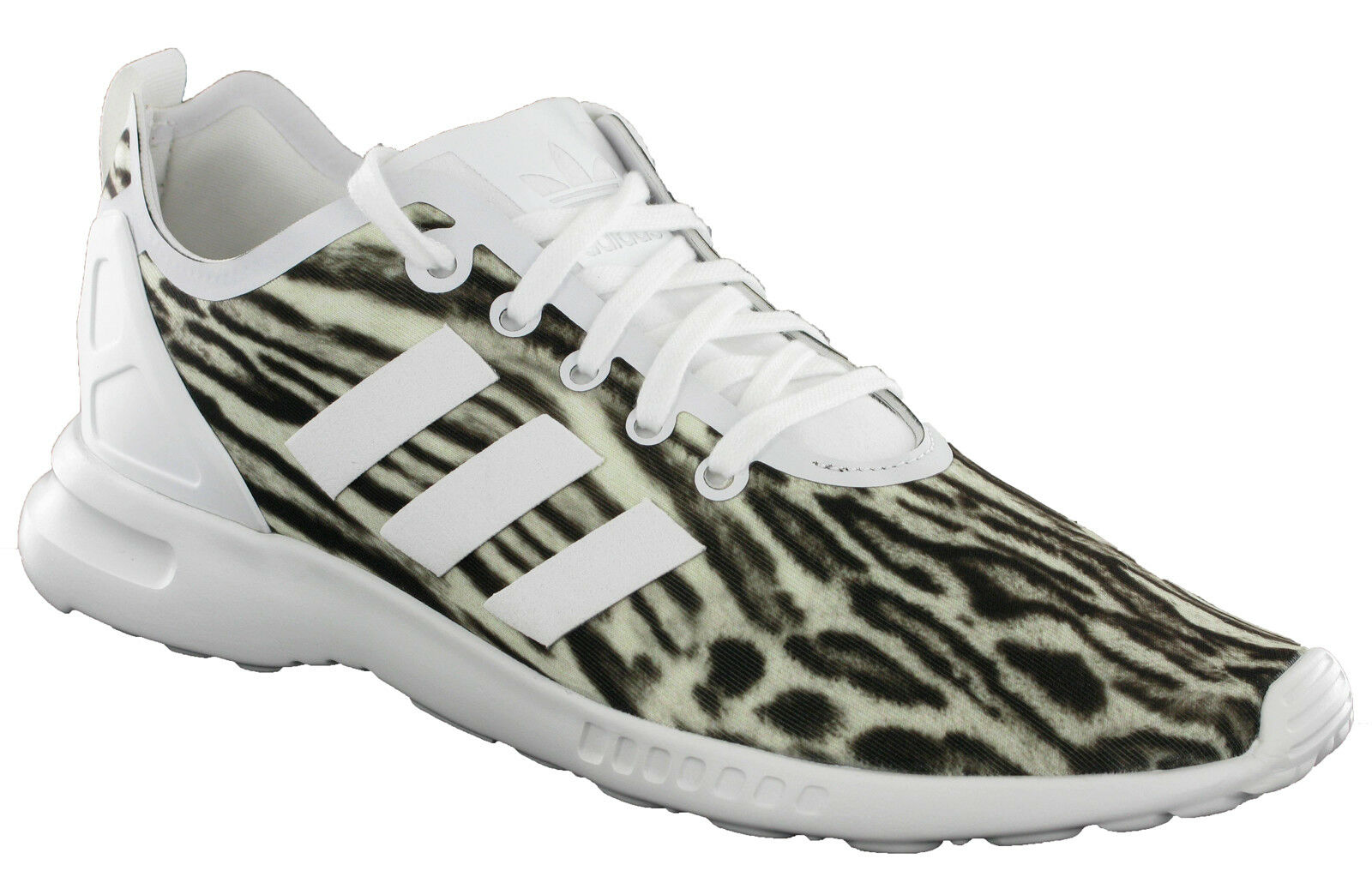 Adidas ZX Flux ADV Smooth Trainers Sports Womens Lace White Zebra AQ5645