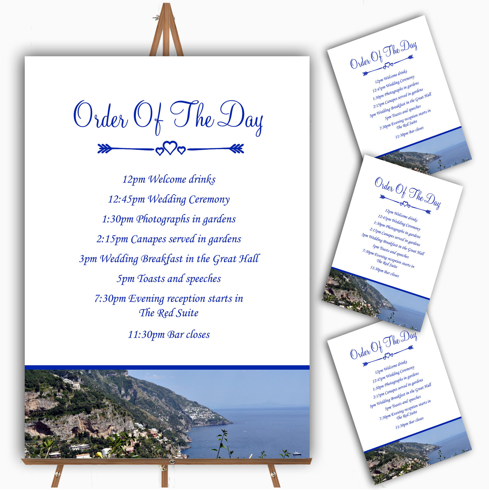 Sorrento Abroad Personalised Wedding Order Of The Day Cards & Signs