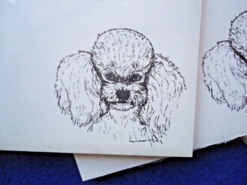 Poodle 3 Notepads 50 Sheets 8.5 x 5.5 New Black /& White Drawing New