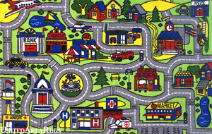7x10 Area Rug Kid S Play Road Map Street Driving Time