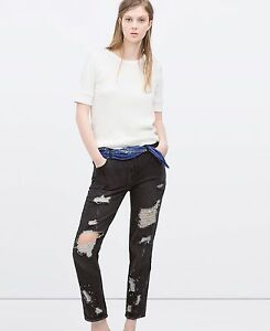173a25151c Details about ZARA Women's HIGH-RISE RIPPED SKINNY JEANS Cropped Denim  Black NEW