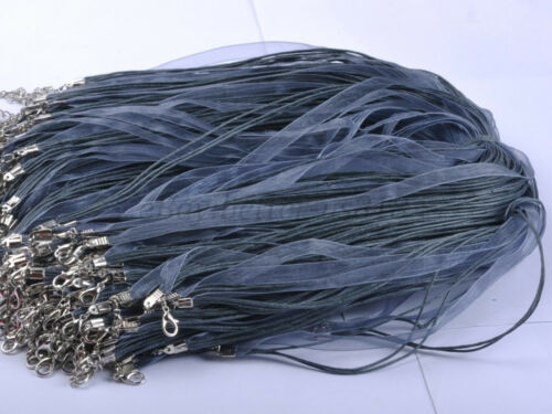 Gros Lots 100Pcs Organza ruban cordon homard fermoir Colliers