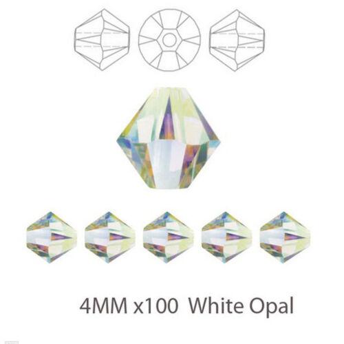 UK Stock 100x 4MM White Opal Crystal Cut Bicone Glass Beads