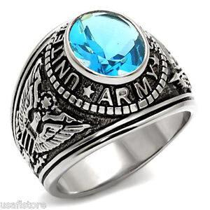 Superior Image Is Loading Light Sapphire Blue Stone US Army Military Silver  Nice Ideas