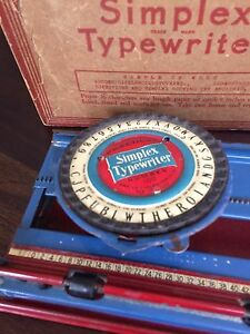 Simplex Toy Typewriter Model 100 w/original Box - Rare