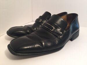 Kenneth Cole Reaction Mens Black Leather Slip On Dress Shoes Size 9M