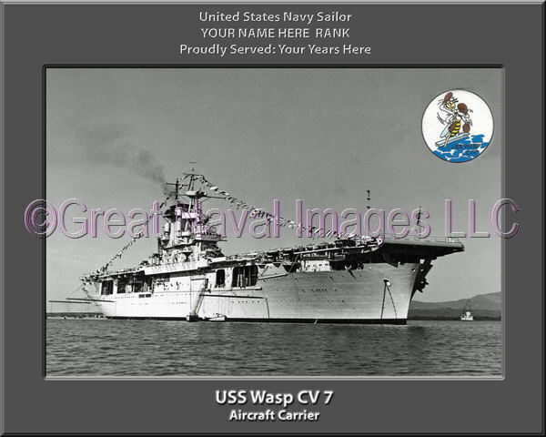USS Wasp CV 7 Personalized Canvas Ship Photo Print Navy Veteran Gift