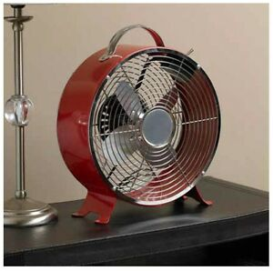 10in Classic Red Retro Desktop Fan Cool Cooling Fresh Air