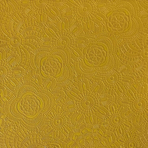 """Vinyl faux leather upholstery  CURRY Sphere Embossed fabric by the yard 55/"""" Wide"""