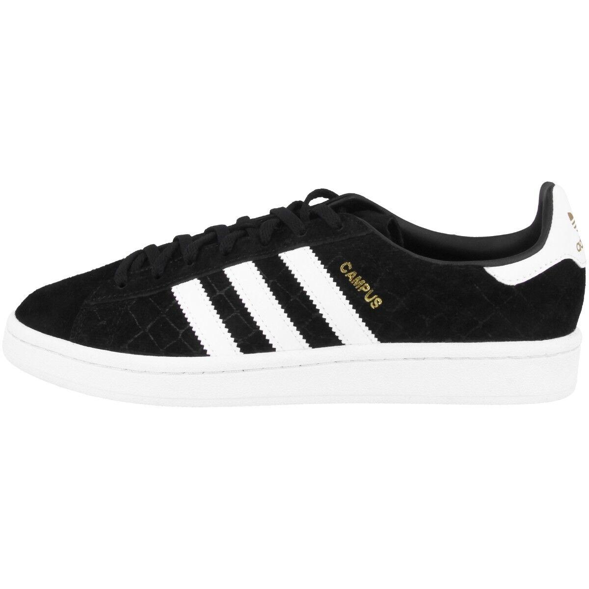 Zapatos promocionales para hombres y mujeres Adidas Campus Women Schuhe Originals Retro Damen Sneaker black white gold CQ2095
