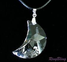 REDUCED! AUSTRIAN LEAD CRYSTAL NECKLACE SPARKLING CELESTIAL MOON CRYSTAL! 60%OFF