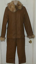SANONLO Jacket/Pant Set Size Medium with Wool Fur like Collar Washable