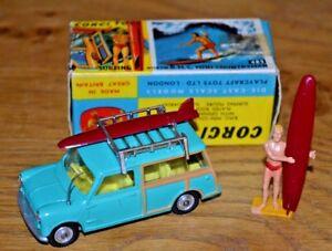 Vintage Corgi Toys modèle 485 Bmc Mini Countryman Surfing Figure Box Original