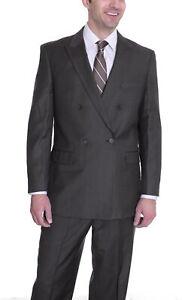 Herren 34s effetti Classic Fit braun Nadelstreifen Wollmischung doppelte Knopfleiste Suit...