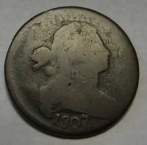 1807-6-Draped-Bust-Large-Cent-Large-Date-Pointed-1-GOOD-Original-Coin-a61