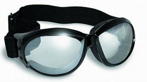 Eliminator Foam Padded Motorcycle Riding ATV Goggles-CLEAR MIRROR LENSES w//Pouch