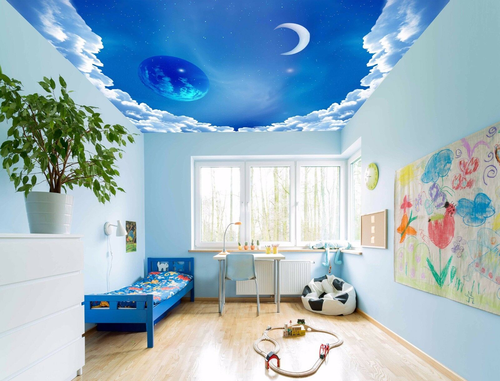 3D bluee Earth Moon Sky 55 Ceiling Wall Paper Print Wall Indoor Wall Murals CA