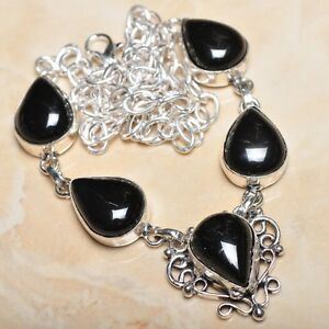 Elegant-Handmade-Black-Agate-Onyx-925-Sterling-Silver-Necklace-20-034-N00670