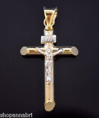 14k Yellow Gold Tube Cross Pendant Religious Charm Cruz Medalla Oro Real