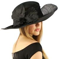 Fancy Sinamay Kentucky Derby Flip Side 5 Floppy Flower Feather Church Hat Black