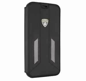 LAMBORGHINI-HURACAN-D6-Leder-amp-Carbon-iPhone-7-iPhone-8-Book-Case-Cover-Schwarz