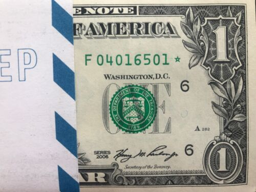 Crisp consecutive,uncirculated *GEM* 2006 STAR NOTE ATLANTA $1 Dollar Bill