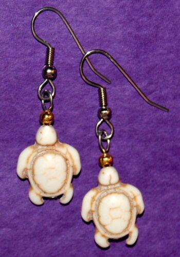 Handcrafted Howlite Sea Turtle Tortoise Motif Earrings by ALPINE ADE DESIGNS #J1