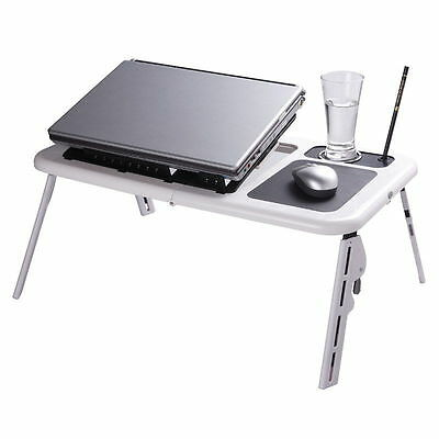 Laptop Table 2 Cooling Fans Mouse Pad USB Folding Storage
