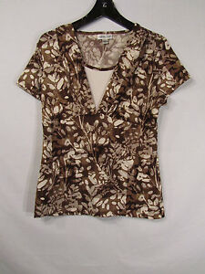 COLDWATER-CREEK-Brown-amp-White-Floral-Polyester-Blend-Cap-Sleeve-Career-Top-Sz-S