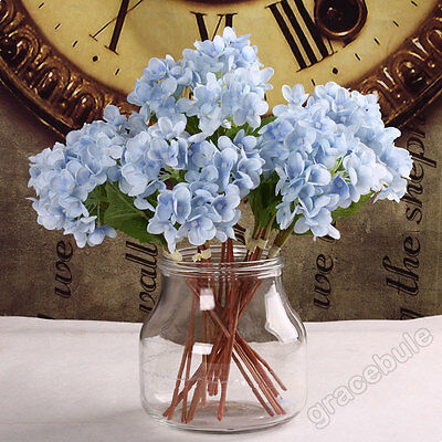 New 9-24pcs Bridesmaid Hydrangea Silk Solid Color Flowers Wedding Home DIY Decor