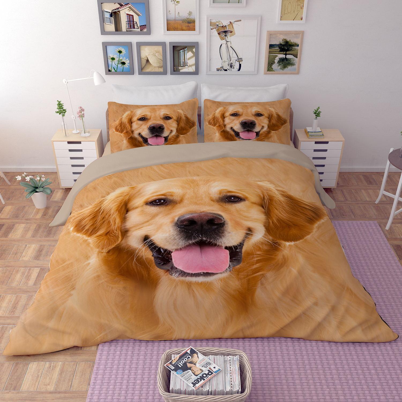 New oroen Retriever dog Quilt duvet Cover+2 pillowcase set twin full queen king