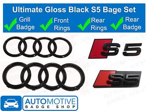 Audi-S5-Gloss-Black-badge-Anneaux-Calandre-Boot-Kit-badge-embleme-Set
