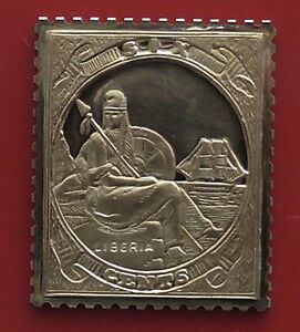 Gold plated on Silver Stamp design Ingot Liberia 6 Cents Liberty Liberte