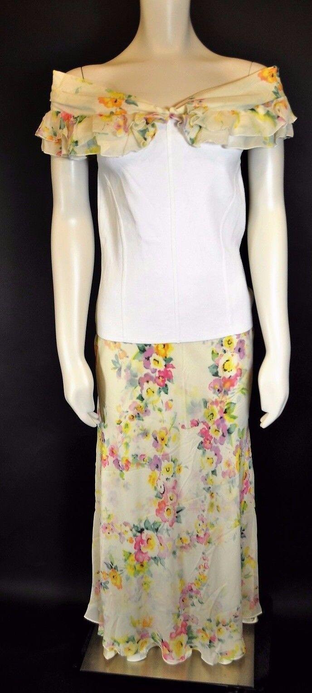 Feminine Escada Floral Silk Long Ruffle hem skirt Sz 36 + Portrait Collar Top 40