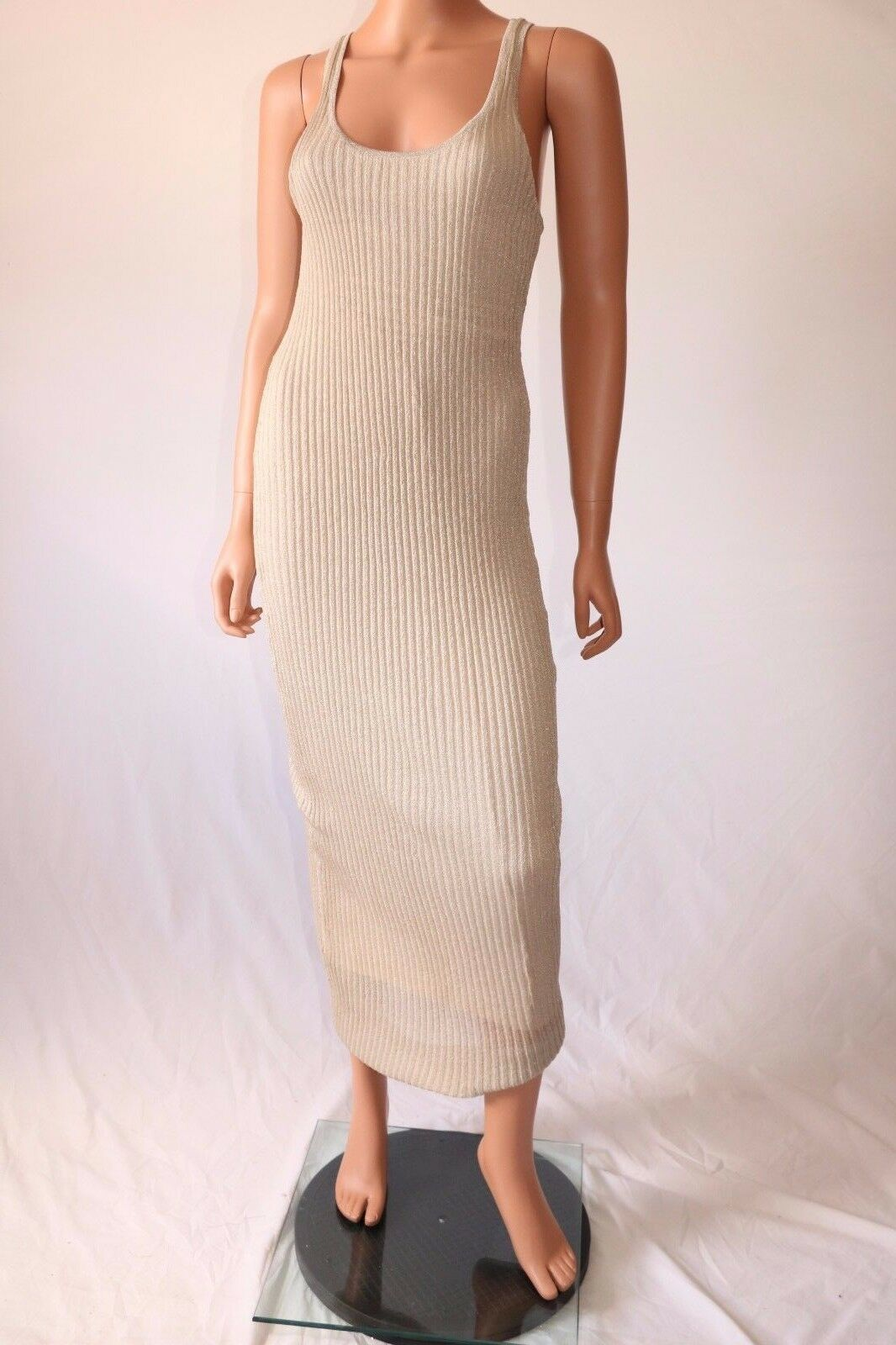Haute Hippie Beige Sleeveless Sleeveless Sleeveless Lined Knitted Stretch Long Dress a01d52