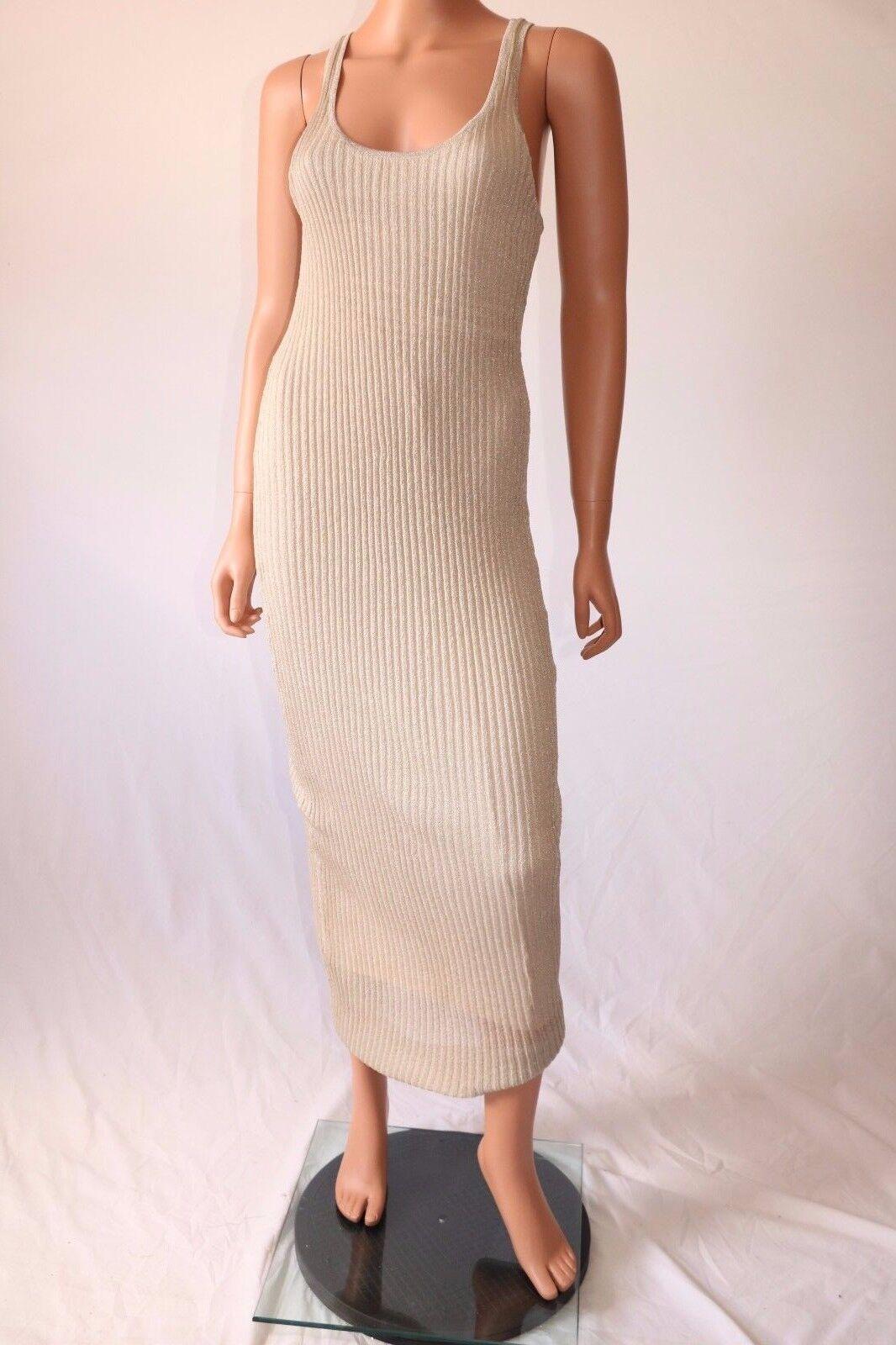 Haute Hippie Beige Sleeveless Lined Knitted Stretch Long Dress