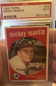 1959-Topps-10-Mickey-Mantle-New-York-Yankees-HOF-PSA-5-EX-Free-shipping