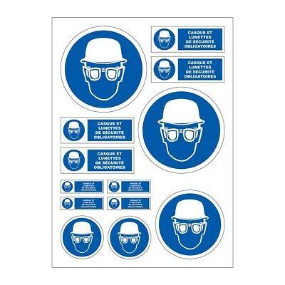 Planche A4 de stickers lunettes de sécurité obligatoires autocollant B50