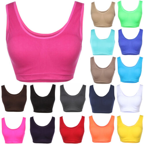 Ribbed Padded Cropped Athletic Sleeveless Bra Layering Bralette Seamless Sports qwE1fnv44