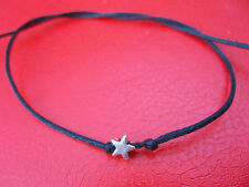 KARMASTRING karma string black tie on bracelet -- anklet & silver colour star