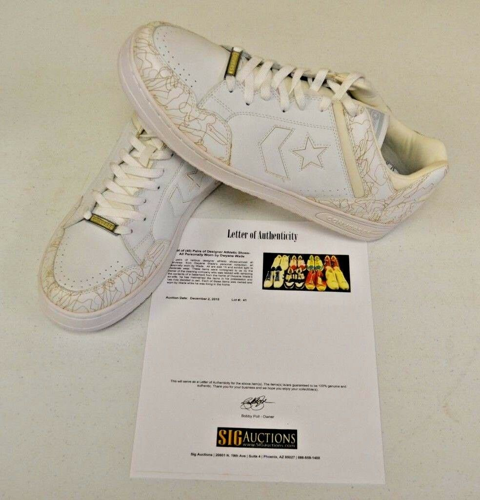 Converse Weapon White Basketball sz 14 DWAYNE WADE Personal Owned shoes COA  11