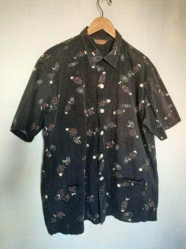 Vtg 50s Jantzen XL Hawaiian Shirt Black Button ato