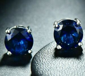 1-00ct-TGW-Tanzanite-Round-14K-White-Gold-Plated-Stud-Earrings