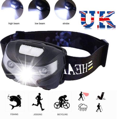 Waterproof USB Rechargeable Sensor Head Torch Light LED Headlamp Headlight UK LF