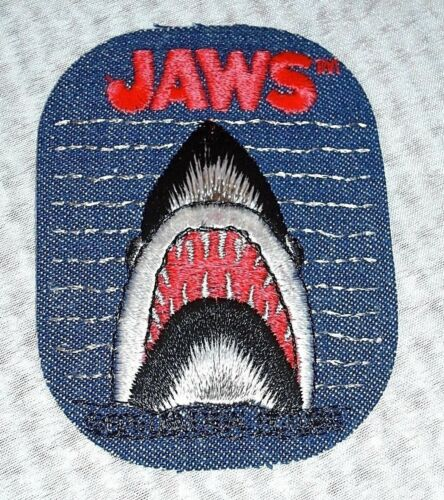 "70s Vintage JAWS Blue Jean Denim Iron On Patch 4.5/"" x 3/"" Shark Patch by Nielsen"
