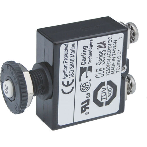 Blue Sea Systems 2134 Push Button Reset Only Screw Terminal Circuit Breaker 20