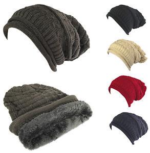 Unisex Women Men Winter Thick Baggy Slouchy Beanie Knit Oversized ... 7c63826b8de9