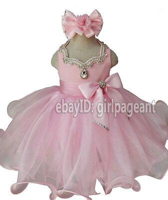 Infant//toddler//baby Mint Green Halter Stones Pageant Glitz Dress G100NB